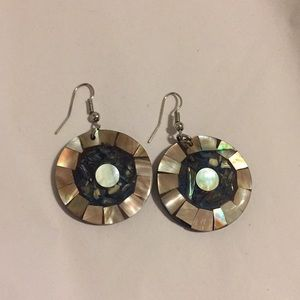Anthropologie Circle-Shaped Abalone Shell Earrings